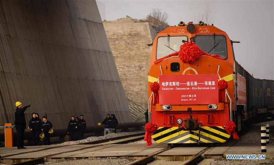Transport de blé par train du Kazakhstan vers la Chine
