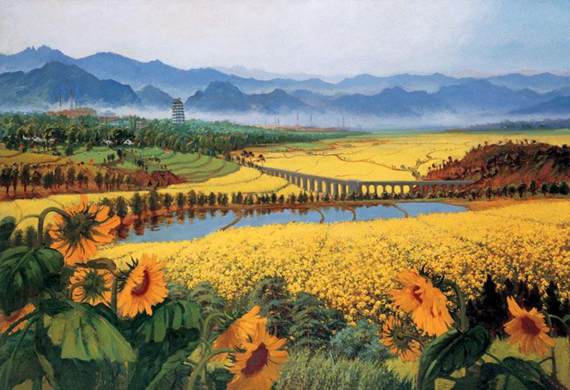 wu zuoren et son uvre fleurs jaunes r pandant leur parfum sur les champs de bataille. Black Bedroom Furniture Sets. Home Design Ideas